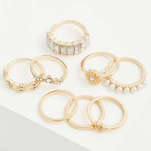 🆕Gold-Tone Faux Pearl Ring Set of 8 Torrid NWT